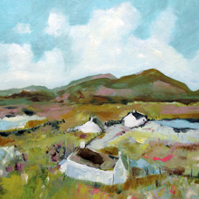 Cottages In The Sun, Isle Of Harris. Oil on Linen, 16 x 16in